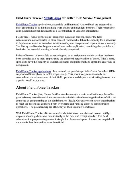 About the Field Force Tracker And Mobile Application | Workforce tracker | Scoop.it