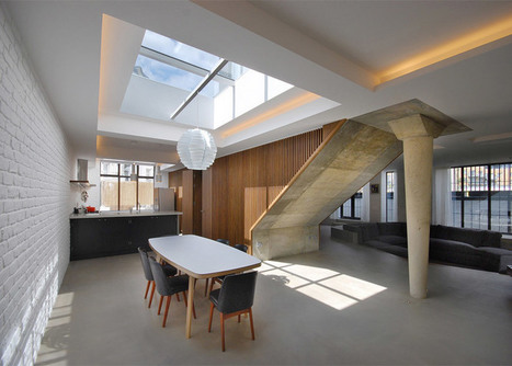 Single concrete leg props a staircase inside converted Primrose Hill garage by Patalab | Inspired By Design | Scoop.it