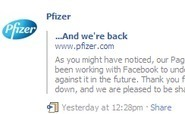 Pfizer facebook page returns with no impact on other pages | Pharma | Scoop.it