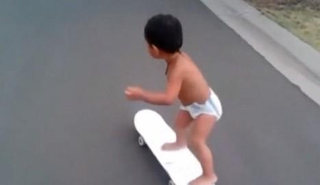 Skateboarding Toddler Gives Skateboarding Cat A Run For Viral Glory - The Inquisitr | Skater Life | Scoop.it