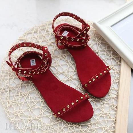 Best Selling Metal Rivets Solid Color Flat Sandals | life | Scoop.it