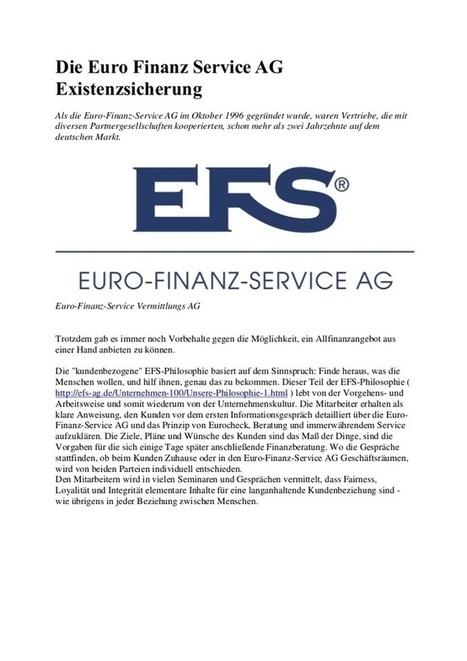 Die Euro Finanz Service AG Existenzsicherung | Euro Finanz Service AG | Scoop.it