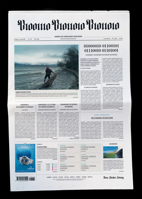 Digital : NZZ chose to surprise its readers with binary code on front page | Les médias face à leur destin | Scoop.it
