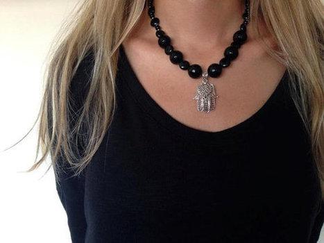 Black Onyx Necklace, Jewelry, 925 Silver Hamsa Necklace, Feminine, Hand Of Fatima , Women Jewelry, Gemstone, Gift, Black Necklace | My Jewelrys | Scoop.it