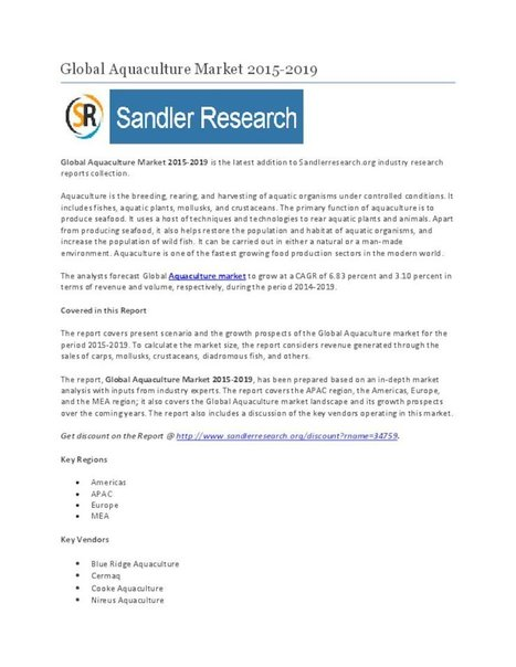 Global Aquaculture Market 2015-2019 - PdfSR.com   Market Research Report at SandlerResearch   Scoop.it