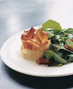 Dandelion Salad with Lardons and Goat Cheese Phyllo Blossoms Recipe | Epicurious.com | good looking recipes | Scoop.it