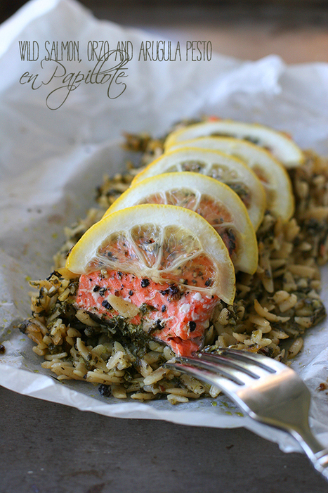 #HealthyRecipe // Salmon, Orzo & Arugula Pesto en Papillote | The Man With The Golden Tongs Goes All Out On Health | Scoop.it