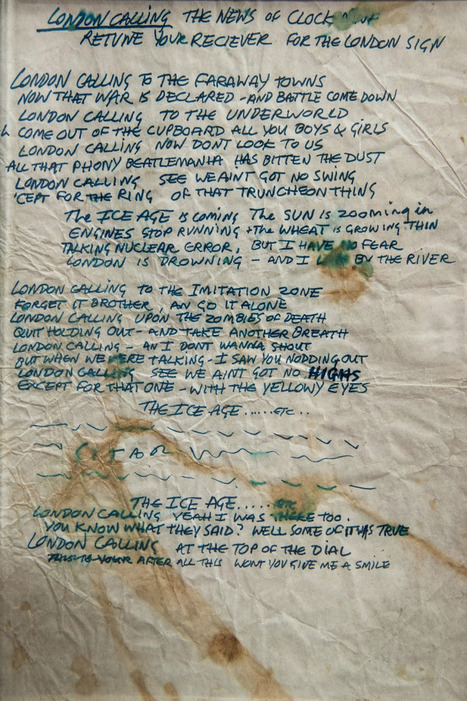"Joe Strummer's Hand-written lyrics for ""London Calling"" » Retronaut | History 2[+or less 3].0 | Scoop.it"