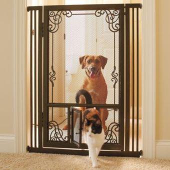 42'H Tension-mount Dual Door Steel Mesh Pet Gate | Pressure Mounted Pet Gates | Scoop.it