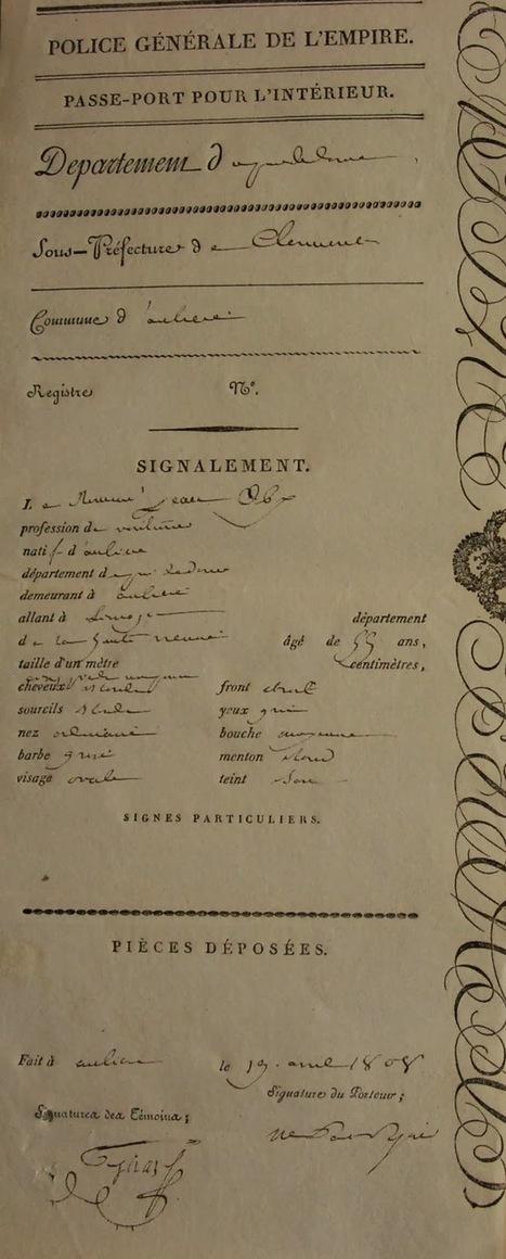 Passeports pour voyages en tous genres | Cercle généalogique et historique d'Aubière | L'écho d'antan | Scoop.it