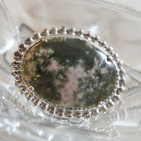 Vintage Moss Agate Brooch. Silver and Forest Green Stone Pin.   I Love Vintage Jewelry   Scoop.it