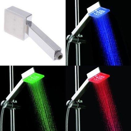 —>   amzdeal 9 LED 3 Farben Temperaturfühler Quadrat Handbrause Regendusche Duschkopf Brausekopf Duschbrause Duscharmatur mit Licht | Günstig Handbrausen | Scoop.it