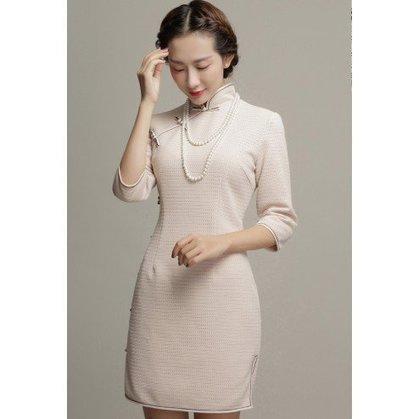 Original Design Ivory Spandex Long Sleeve Bodycon Reformed Cheongsam | Fashion Chinese Dresses | Scoop.it