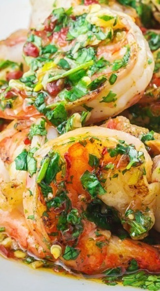 Grilled Shrimp with Roasted Garlic-Cilantro Sauce   ♨ Family & Food ♨   Scoop.it