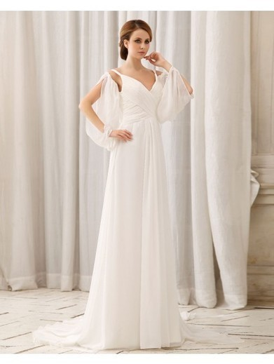 A-line V-neck Sleeveless Chiffon White Wedding Dress With Ruffles #Athena079 | Cheap Wedding Dresses UK, Bridesmaid Dresses, Evening Dresses & Prom Dresses In UK | Scoop.it