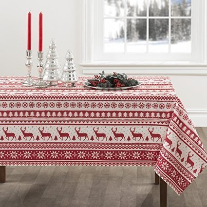 Red and White Nordic Scandinavian Style Christmas Tablecloth | Home and Garden | Scoop.it