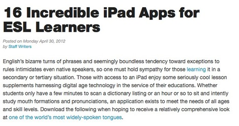 16 Incredible iPad Apps for ESL Learners - Best Colleges Online | English Language Teaching with Technology | Scoop.it