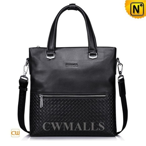 CWMALLS® Woven Leather Business Totes CW906053   Mens Business Bags   Scoop.it