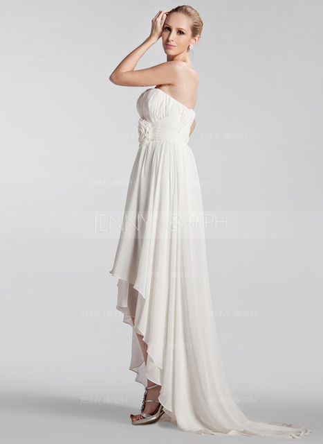 [SEK 995] A-linjeformat Axelbandslös Asymmetrisk Chiffong Bröllopsklänning med Rufsar Blomma (or) (002024297)   jenjenhouse   Scoop.it