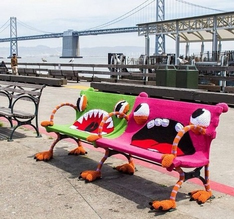 Yarnbombed Benches at San Francisco Ferry Building | A Birthday 2 Remember | Scoop.it