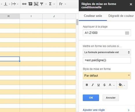 Colorier une ligne sur deux dans un tableau Google Sheets   L'e-Space Multimédia   Scoop.it