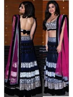 Buy Latest Designer Alia Bhatt in Navy Blue Lehenga Choli 2103 | Online Shopping | Scoop.it