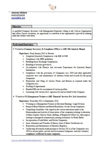 Over 10000 CV and Resume Samples with Free Download: Best Company Secretary Resume | Career | Scoop.it