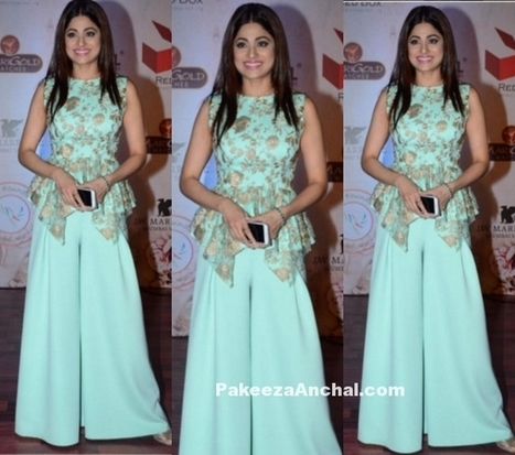 Shamita Shetty in Vikram Phadni's Peplum Top and Palazzo Pants | Indian Fashion Updates | Scoop.it