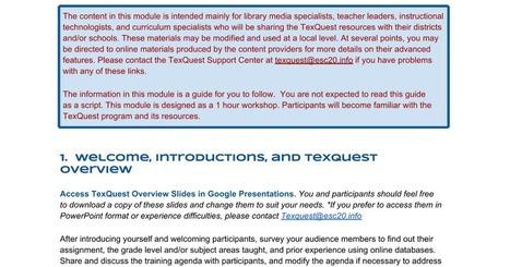 TexQuest Basics: Training Notes | Information Powerhouses | Scoop.it