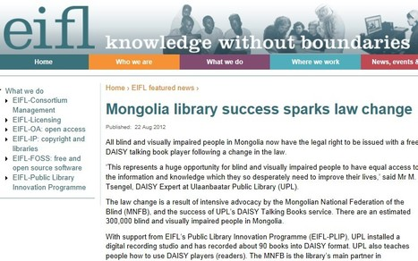 DAISY players for free? Move to Mongolia - Mongolia library success sparks law change | EIFL | Inclusive teaching and learning | Scoop.it