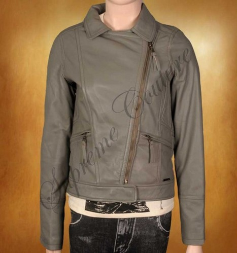 Tonal Gray Biker's Leather outfit is excellently create women nature | WOMEN JACKETS | Scoop.it