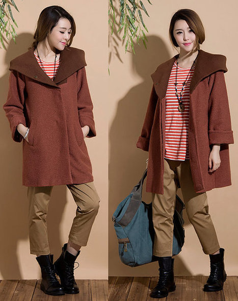 Red Camel thick woolen coat and long sections / hooded casual woolen  jacket | Ladies Fashion | Scoop.it