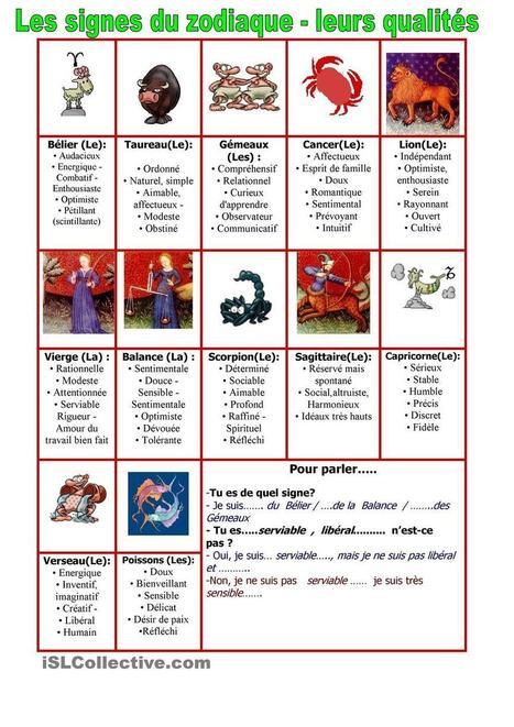 Les adjectifs du caractère  : les qualités  et le zodiaque | FLE enfants | Scoop.it
