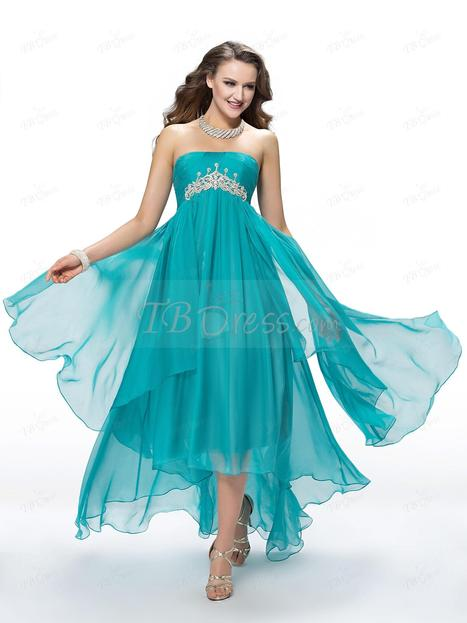 $ 118.69 Fantastic A-Line Asymmetry Empire Sweep-Train Crystal Prom Dress Designed Independently   one-piece dress   Scoop.it