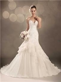 $ 184.99 Luxurious Trumpet/Mermaid Sleeveless Beading V-Neck Chapel Train Wedding Dress   Fashion women   Scoop.it