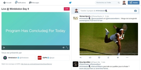 Nouveau : Twitter Live, pour suivre le direct vidéo de Wimbledon sans quitter Twitter - Blog du Modérateur | Digital Social Club | Scoop.it