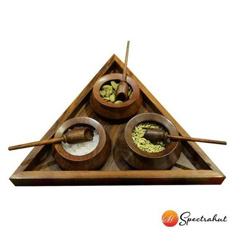 Triangular Multi-Purpose Table Tray with 3 handi & Spoons | wooden Kitchen Products and Accessories | Scoop.it