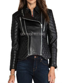 Women Leather Paneled and Quilted Fall Leather Jacket | Biker Women Leather Moto Jacket | AUTUMN FALL FOR WOMEN | Scoop.it