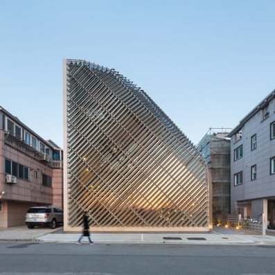 Aluminium louvres cover CURVING walls of house and cafe in South Korea by AND | The Architecture of the City | Scoop.it