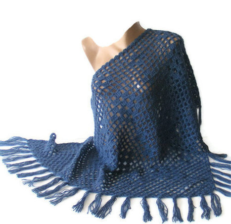 hand crocheted shawl,blue,warm,soft,trend shawl,women,for her,crochet shawl,accessory,gift ideas,Valentine's Day gift | MY SCARVES | Scoop.it
