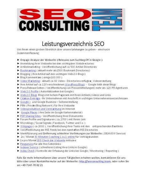 Leistungsverzeichnis SEO Consulting Team - PdfSR.com | Video Marketing | Scoop.it