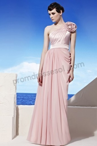 Prom dresses 2013 - Pink One-shoulder Flower Sequins Tencel Bridesmaid Party Dress WB020 | 2013 new fashion prom dresses | Scoop.it