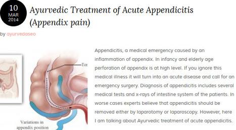 Ayurvedic Treatment of Acute Appendicitis (Appendix pain) | Ayurvedic Treatments | Scoop.it