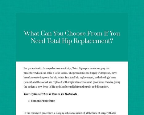 What Can You Choose From If You Need Total Hip Replacement? | Maxhealthcare India | Scoop.it
