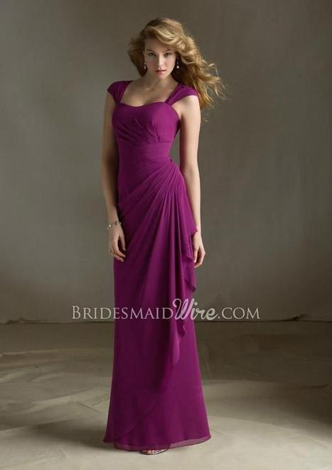Cap Sleeve Plum Chiffon Draped Long Bridesmaid Dress with Keyhole Back | Woman Wedding Dresses | Scoop.it