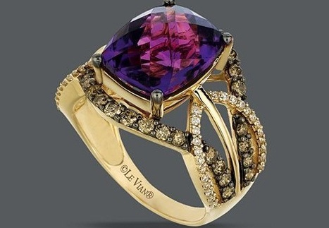Le Vian 14k Gold Ring, Amethyst  White and Chocolate Diamond Ring | Rings of the World | Scoop.it
