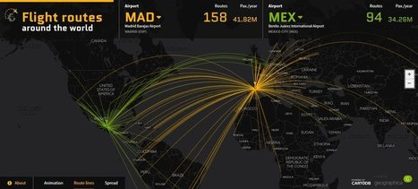 Visualización de datos: los 50 aeropuertos más transitados del mundo en un mapa dinámico | Everything is related to everything else | Scoop.it