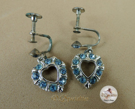 Vintage Jewelry Blue Rhinestone Heart Earrings | Gorgeous Vintage I Crave! | Scoop.it