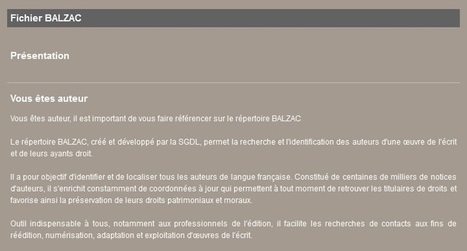 Balzac, répertoire des auteurs de langue française | Infocom | Scoop.it