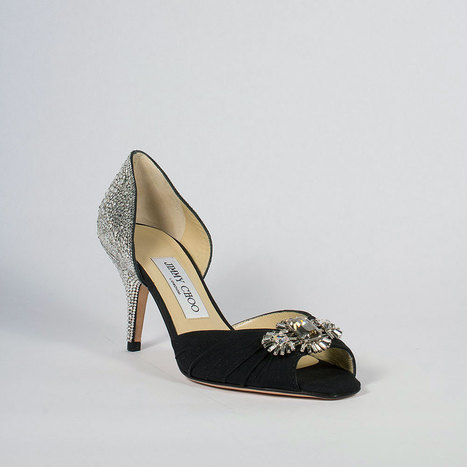 Jimmy Choo Designer Strassed Women Shoes Black Crepe De Chine Swarovski | Wedding shoes | Scoop.it